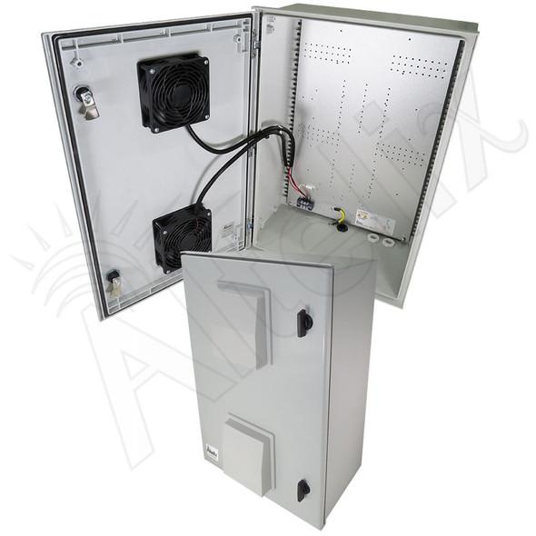 Altelix 24x16x9 Vented Fiberglass Weatherproof NEMA Enclosure with Dual 24 VDC Cooling Fans
