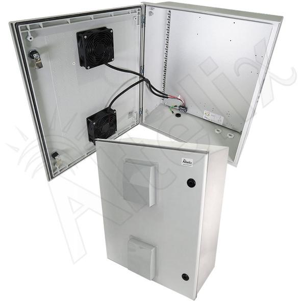 Altelix 24x20x9 Vented Fiberglass Weatherproof NEMA Enclosure with Dual 24 VDC Cooling Fans