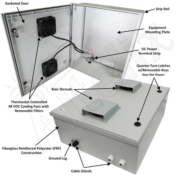 Altelix 24x20x9 Vented Fiberglass Weatherproof NEMA Enclosure with Dual 48 VDC Cooling Fans