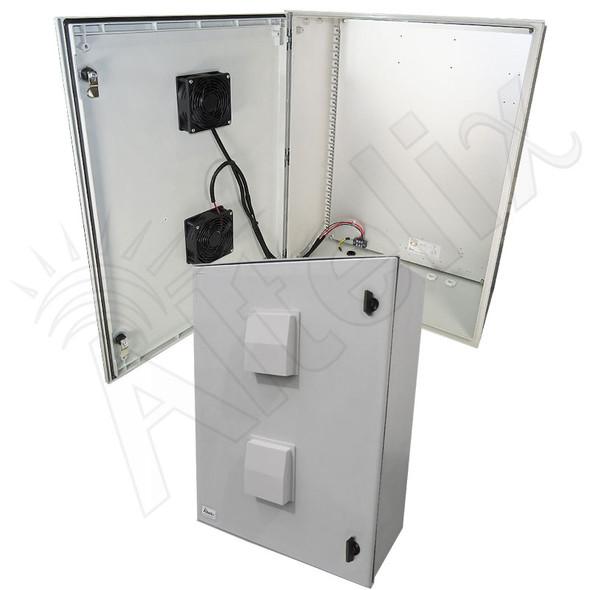 Altelix 32x24x12 Vented Fiberglass Weatherproof NEMA Enclosure with Dual 12 VDC Cooling Fans