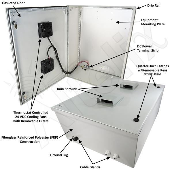 Altelix 32x24x12 Vented Fiberglass Weatherproof NEMA Enclosure with Dual 24 VDC Cooling Fans