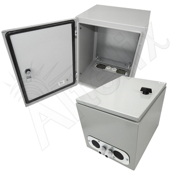 Altelix 16x12x12 Vented Steel Weatherproof NEMA Enclosure with Steel Equipment Mounting Plate