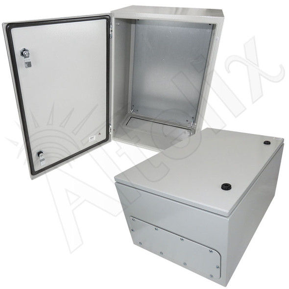 Altelix 24x16x12 NEMA 4X Steel Weatherproof Enclosure with Steel Equipment Mounting Plate