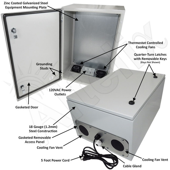 Altelix 24x16x12 Steel Weatherproof NEMA Enclosure with Dual Cooling Fans, 120 VAC Outlets and Power Cord