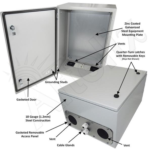 Altelix 24x16x12 Vented Steel Weatherproof NEMA Enclosure with Steel Equipment Mounting Plate