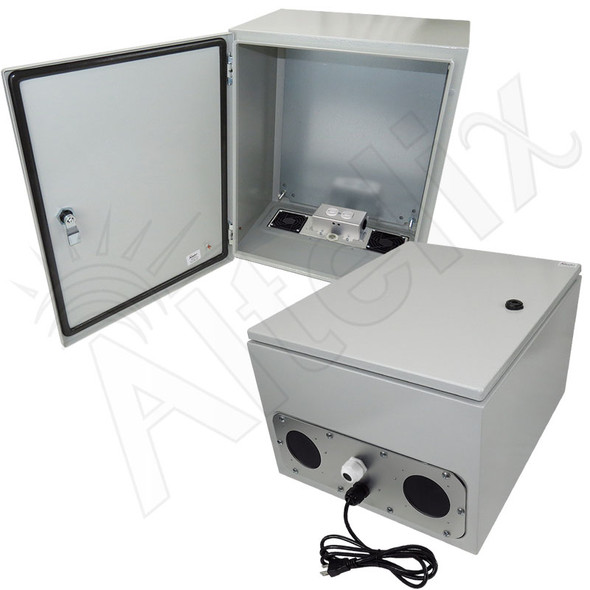 Altelix 20x16x12 Vented Steel Weatherproof NEMA Enclosure with 120 VAC Outlets and Power Cord