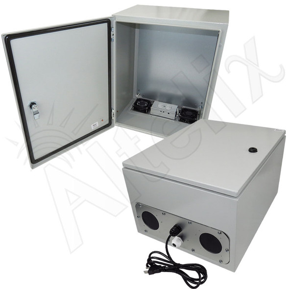 Altelix 20x16x12 Steel Weatherproof NEMA Enclosure with Dual Cooling Fans, 120 VAC Outlets and Power Cord
