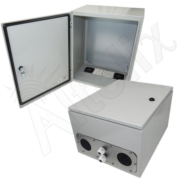 Altelix 20x16x12 Vented Steel Weatherproof NEMA Enclosure with Steel Equipment Mounting Plate