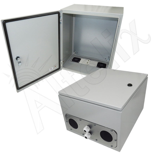 Altelix 20x16x12 Vented Steel Weatherproof NEMA Enclosure with Steel Equipment Mounting Plate