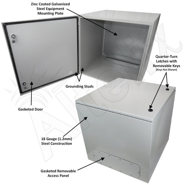 Altelix 24x24x24 NEMA 4X Steel Weatherproof Enclosure with Steel Equipment Mounting Plate