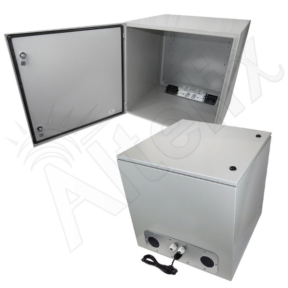 Altelix 24x24x24 Steel Weatherproof NEMA Enclosure with Dual Cooling Fans, 120 VAC Outlets and Power Cord