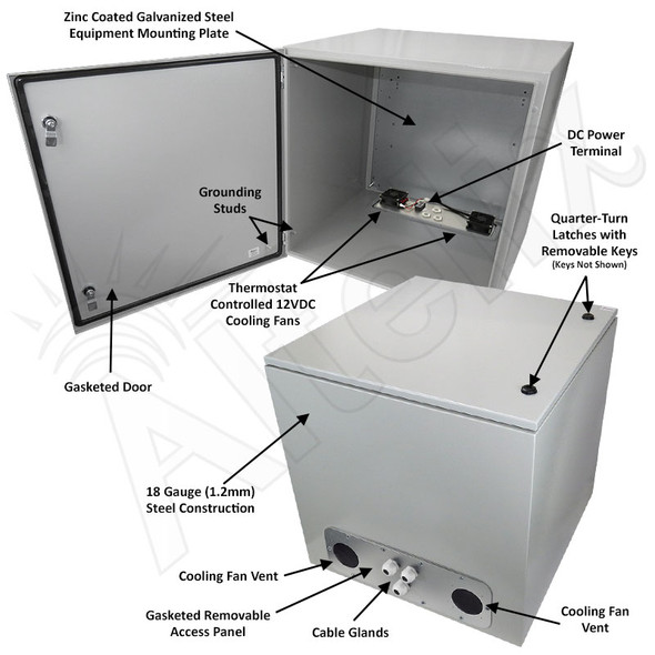 Altelix 24x24x24 Steel Weatherproof NEMA Enclosure with Dual 12 VDC Cooling Fans
