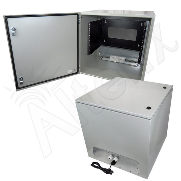 "Altelix 24x24x24 19"" Wide 6U Rack NEMA 4X Steel Weatherproof Enclosure with 120 VAC Outlets and Power Cord"