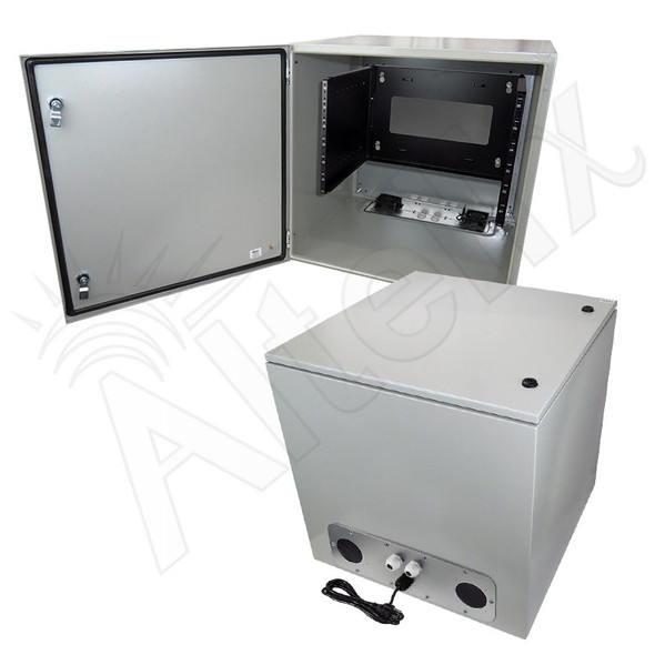 "Altelix 24x24x24 19"" Wide 6U Rack Steel Weatherproof NEMA Enclosure with Dual Cooling Fans, 120 VAC Outlets and Power Cord"