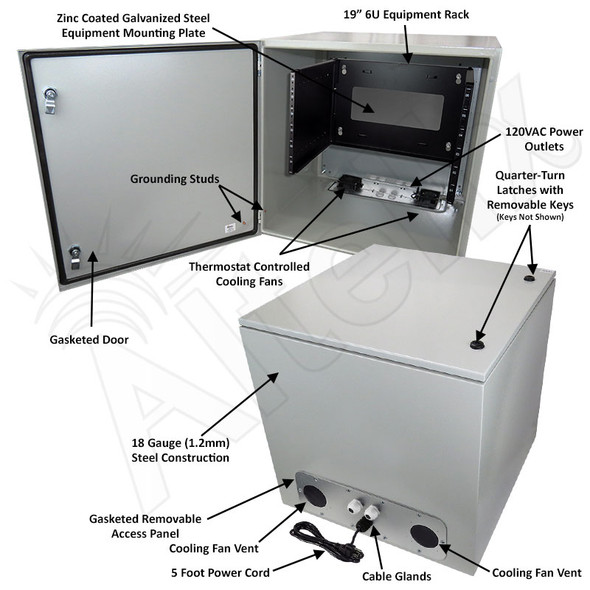 """Altelix 24x24x24 19"""" Wide 6U Rack Steel Weatherproof NEMA Enclosure with Dual Cooling Fans, 120 VAC Outlets and Power Cord"""