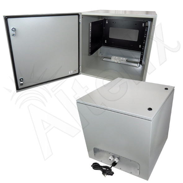 "Altelix 24x24x24 120VAC 20A Steel NEMA 4X Enclosure for UPS Power Systems with 19"" Wide 6U Rack, 20A Power Outlets and Power Cord"