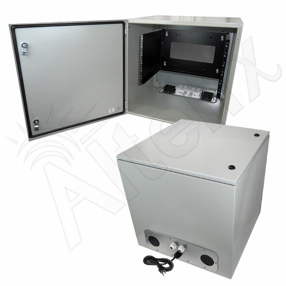 "Altelix 24x24x24 120VAC 20A Steel NEMA Enclosure for UPS Power Systems with 19"" Wide 6U Rack, Dual Cooling Fans, 20A Power Outlets & Power Cord"
