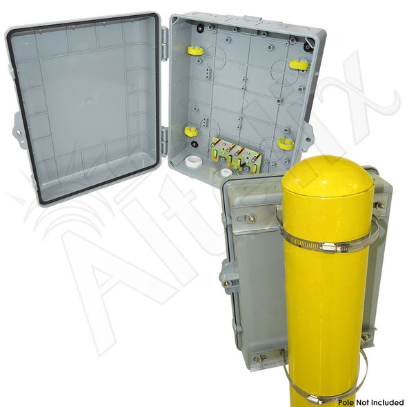 Altelix 14x11x5 PC + ABS Weatherproof Utility Box NEMA Enclosure with NMKG-240 Pole Mount Kit