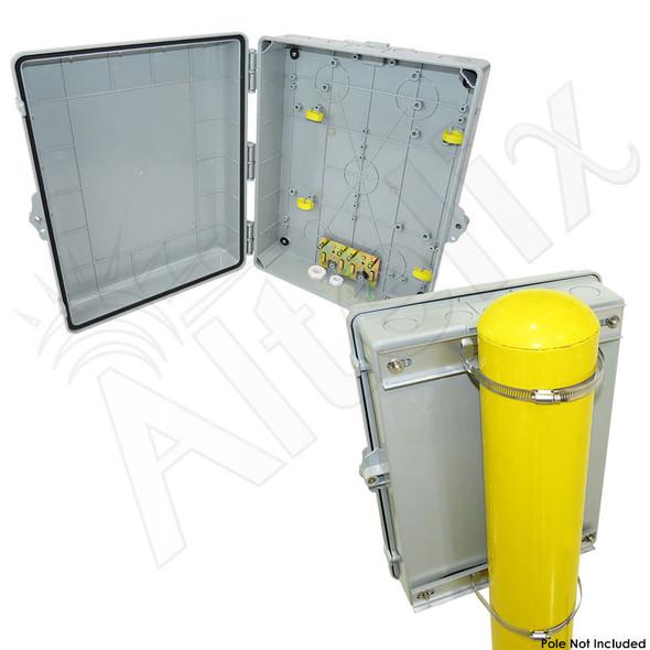 Altelix 17x14x6 PC + ABS Weatherproof Utility Box NEMA Enclosure with NMKG-283 Pole Mount Kit