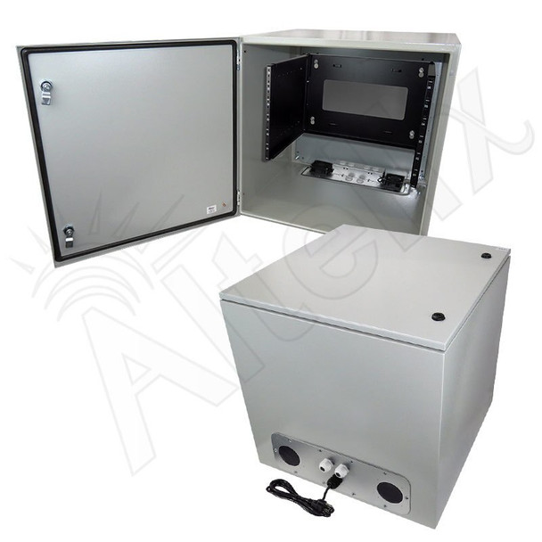 "Altelix 24x24x24 19"" Wide 6U Rack Steel Weatherproof NEMA Enclosure  with 120 VAC Outlets, Power Cord & 85°F Turn-On Cooling Fans"