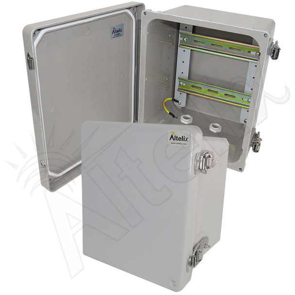 Altelix 10x8x6 Industrial DIN Rail Enclosure Fiberglass NEMA 4X IP66