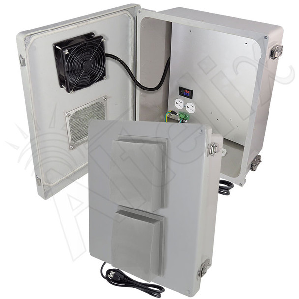 Altelix 14x12x6 Fiberglass Weatherproof Vented NEMA Enclosure with 120 VAC Outlets, Power Cord &  Cooling Fan with Digital Temperature Controller