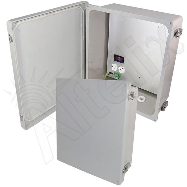 Altelix 14x12x6 Fiberglass Weatherproof Heated NEMA Enclosure with 120 VAC Outlets &  200W Heater with Digital Temperature Controller