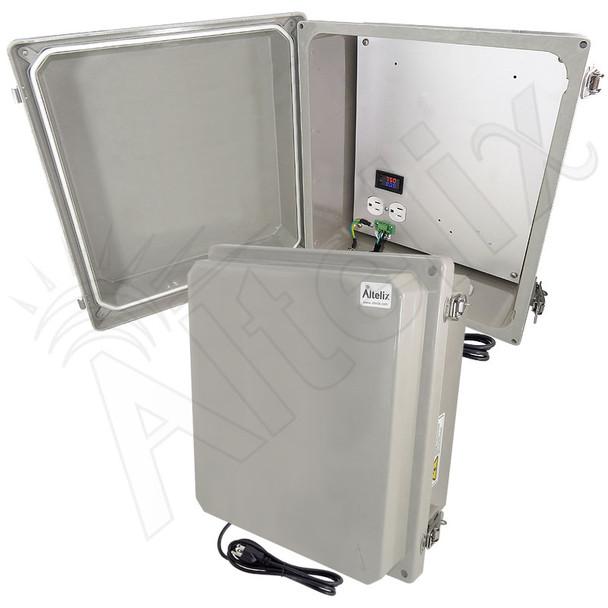 Altelix 14x12x8 Fiberglass Weatherproof Heated NEMA Enclosure with 120 VAC Outlets, Power Cord & 200W Heater with Digital Temperature Controller