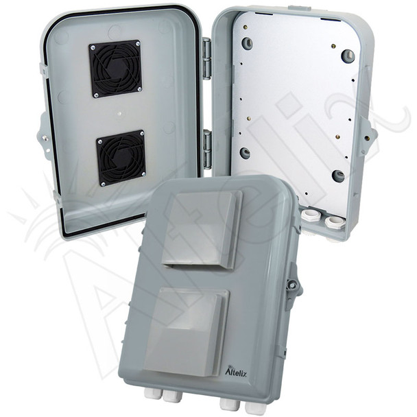 Altelix 13x10x4 PC+ABS Vented Weatherproof Utility Box NEMA Enclosure with Hinged Door and Aluminum Mounting Plate