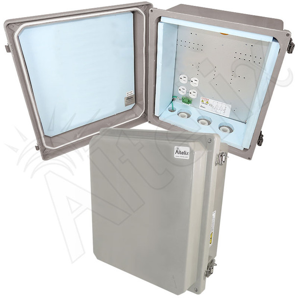 Altelix 14x12x8 Insulated Fiberglass Weatherproof NEMA 4X Enclosure with 200W Heater & 120 VAC Outlets
