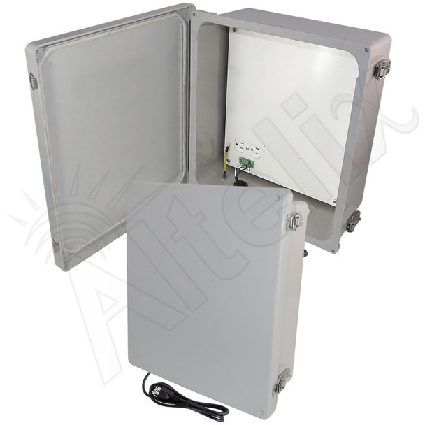 Altelix 14x12x6 Fiberglass Weatherproof WiFi NEMA 4X Enclosure with Non-Metallic Mounting Plate, 120 VAC Outlets & Power Cord