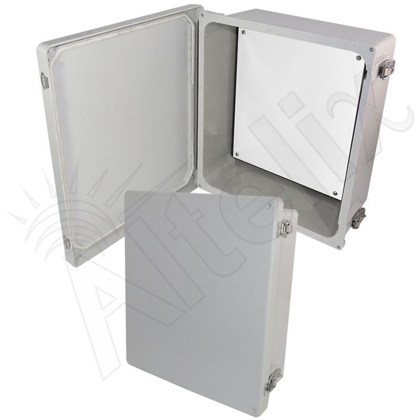 Altelix 14x12x6 NEMA 4X Fiberglass Indoor / Outdoor RF Transparent WiFi Access Point Enclosure with Non-Metallic Equipment Mounting Plate