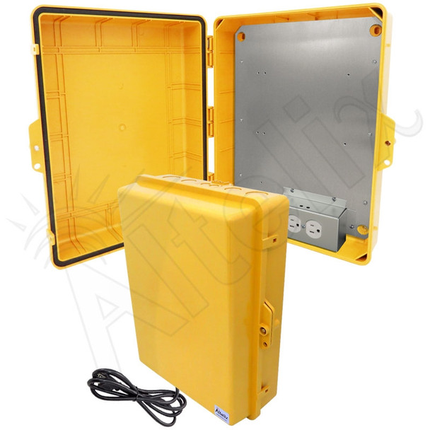 Altelix 17x14x6 Yellow Polycarbonate + ABS Weatherproof NEMA Enclosure with Aluminum Mounting Plate, 120 VAC Outlets & Power Cord