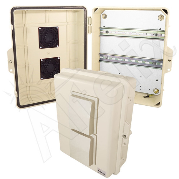 Altelix 14x11x5 Light Ivory Vented DIN Rail Polycarbonate + ABS Weatherproof NEMA Enclosure