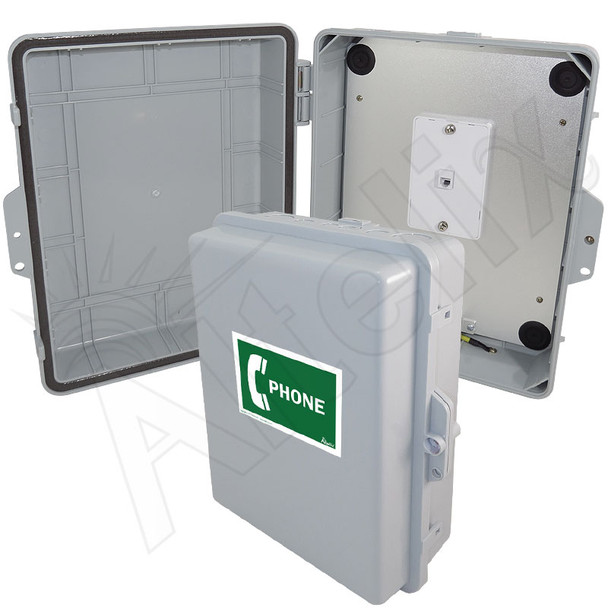 Altelix Outdoor Weatherproof Service Phone Call Box for Slim-Line Phones, 14x11x5 with Service Phone Label