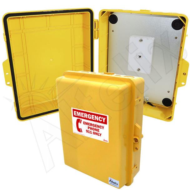 Altelix Outdoor Weatherproof Emergency Phone Call Box for Slim-Line Phones, Yellow 14x11x5 with Emergency Phone Label
