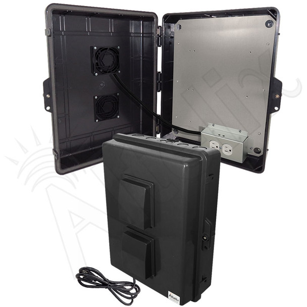 Altelix 17x14x6 Stealth Black Vented Polycarbonate + ABS Weatherproof NEMA Enclosure with 120 VAC Outlets, Power Cord & 85°F Turn-On Cooling Fan