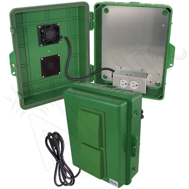 Altelix 14x11x5 Green Polycarbonate + ABS Vented Fan Cooled Weatherproof NEMA Enclosure with Aluminum Mounting Plate, 120 VAC Outlets & Power Cord