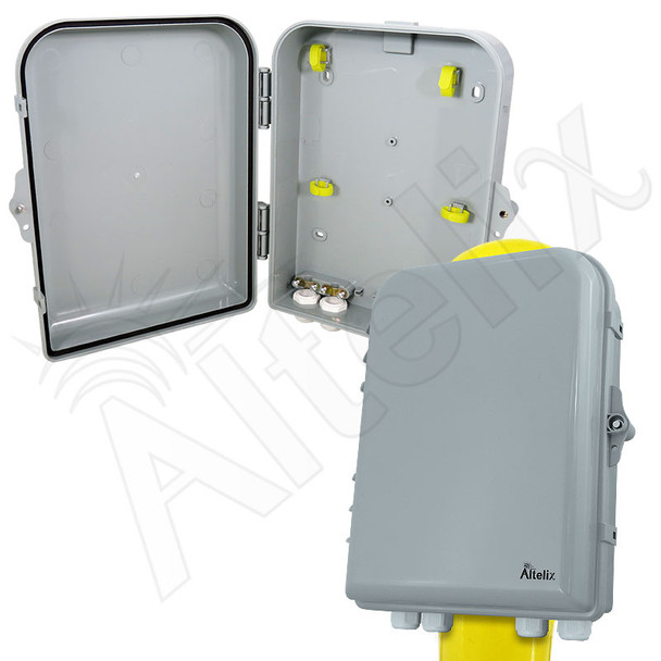 Altelix 13x10x4 Pole Mount IP66 NEMA 4X PC+ABS Plastic Weatherproof Utility Box with Hinged Door