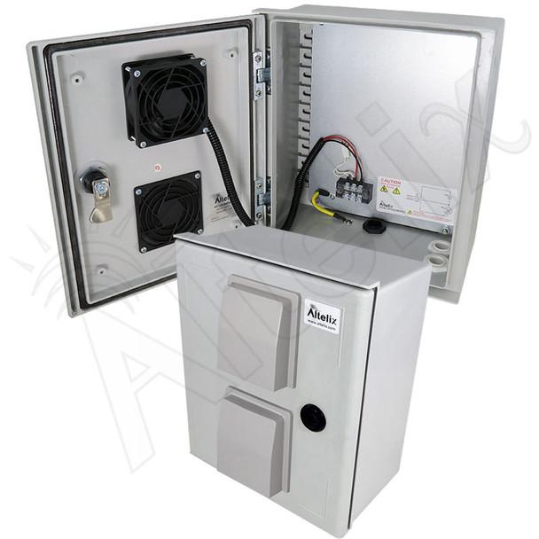 Altelix 12x10x6 Vented Fiberglass Weatherproof NEMA Enclosure with 48 VDC Cooling Fan