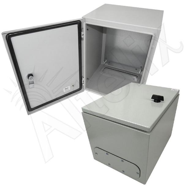 Altelix 16x12x12 Steel NEMA 4x / IP66 Weatherproof Equipment Enclosure with Blank Steel Equipment Mounting Plate