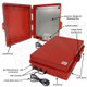 Altelix 17x14x6 Red Polycarbonate + ABS Weatherproof NEMA Enclosure with Aluminum Mounting Plate, 120 VAC Outlets & Power Cord