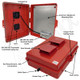 Altelix 17x14x6 Red Vented Polycarbonate + ABS Weatherproof NEMA Enclosure with 100-240 VAC Universal Power Outlet & Cooling Fan