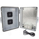 Altelix 14x11x5 Polycarbonate + ABS Vented Weatherproof NEMA Enclosure with Aluminum Mounting Plate, 120 VAC Outlets and Power Cord