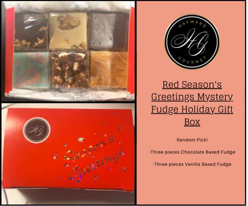 Red Season's Greeting Mystery Fudge Holiday Gift Box