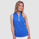 Pure Golf Bloom Ladies Sleeveless Polo Shirt -Royal Blue