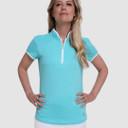 Pure Golf Bloom Ladies Cap Sleeve Polo Shirt - Ocean Blue