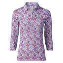Daily Sports Paisley Three Quarter Sleeve Polo Shirt Azul Blue - Front