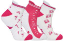 3 Pair Pack of Pink And White Ladies Golf Socks