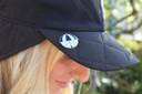 Ladies Golf Waterproof Fleece Lined Rain Cap with Crystal Umbrella Ball Marker - Black